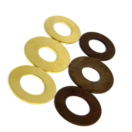 "Solid Brass Washers 10mm or 1/2"" Hole Raw or Antique Finish Packs of 10"